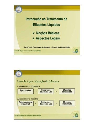 Introdução ao Tratamento de Efluentes Líquidos - Conselho ...