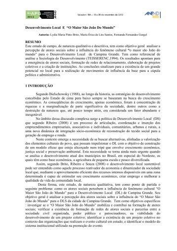 """Desenvolvimento Local E """"O Maior São João Do Mundo ... - Anpad"""