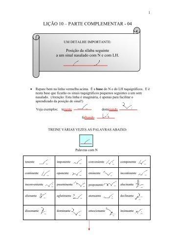 LIÇÃO 10 – PARTE COMPLEMENTAR - 04 - Taquigrafia em Foco