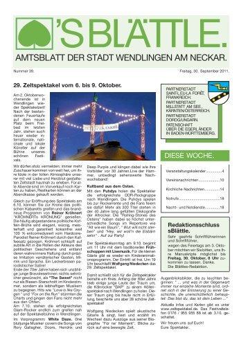 29. Zeltspektakel vom 6. bis 9. Oktober. - Stadt Wendlingen