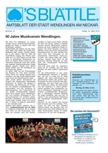 Ausgabe Nr. 12 vom 22. März 2013. - Stadt Wendlingen