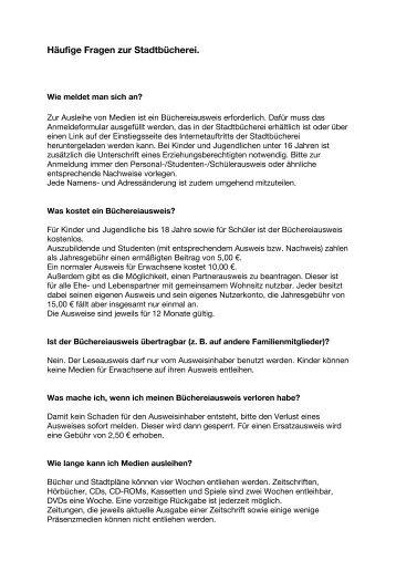 Häufige Fragen zur Stadtbücherei (PDF).