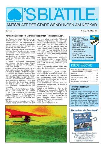 Ausgabe Nr. 11 vom 15. März 2013. - Stadt Wendlingen