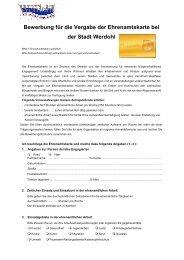 Bewerbung für die Vergabe der Ehrenamtskarte bei der Stadt Werdohl