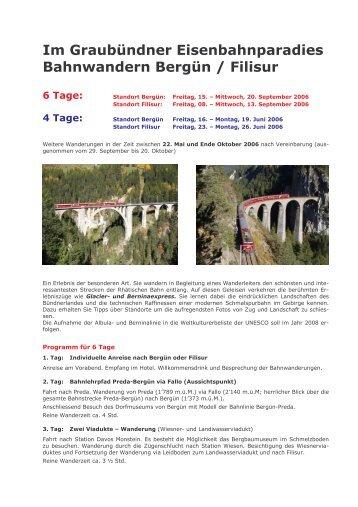 Bahnwandern GR 3 und 5 Tage Berg\374n - Hotel Weisses Kreuz ...