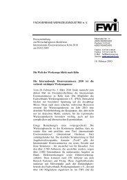 FWI-Pressemitteilung zur Wirtschaftspresse-Konferenz