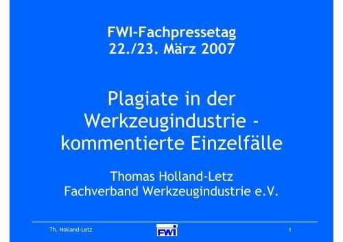 Plagiate in der Werkzeugindustrie - Fachverband Werkzeugindustrie ...
