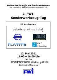 2. FWI- Sonderwerkzeug-Tag - Fachverband Werkzeugindustrie eV