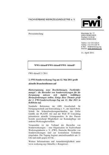 2. FWI-Sonderwerkzeug-Tag am 12. Mai 2011 - Fachverband ...