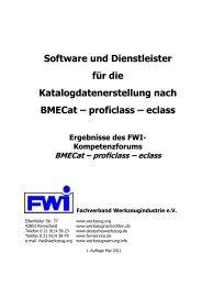 BMECat – proficlass – eclass - Fachverband Werkzeugindustrie eV