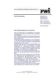 FWI-Pressemitteilung - Fachverband Werkzeugindustrie eV