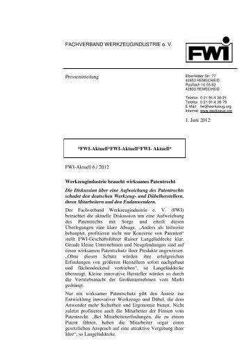 Werkzeugindustrie braucht wirksames Patentrecht - Fachverband ...