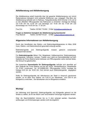 Abfallberatung und Abfallentsorgung - Stadt Wermelskirchen