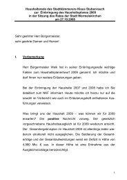 Haushaltsrede 2009 Stadtkämmerer - Stadt Wermelskirchen