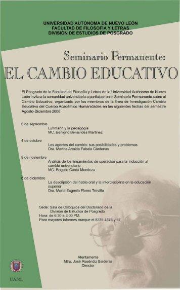 Programa Agosto-diciembre 2006 - Cuerpo Académico Cambio ...