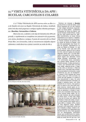 11.ª visita vitivinícola da aph : bucelas, carcavelos e colares