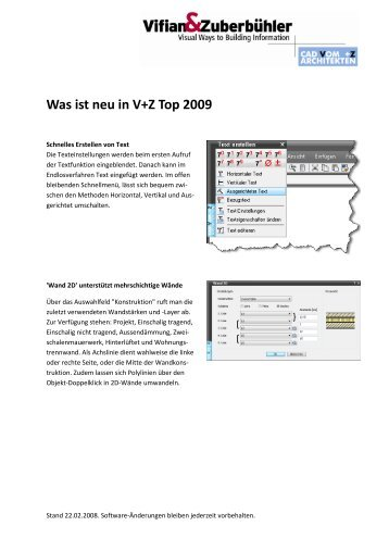 Was ist neu in V+Z Top 2009