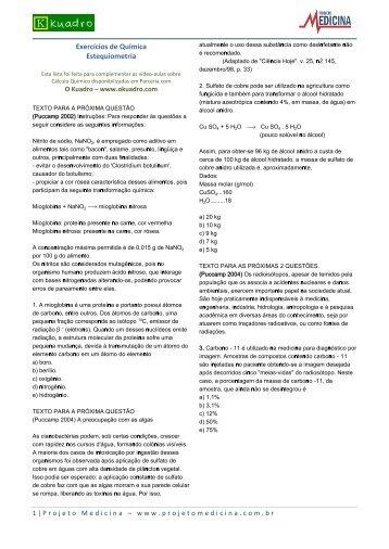 Exercícios de Química Estequiometria - Projeto Medicina