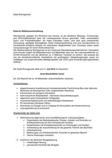 Stadt Wernigerode Externe Stellenausschreibung Wernigerode ...