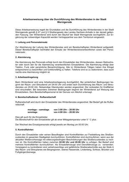Dienstanweisung 26896 Winterdienst Wernigerode
