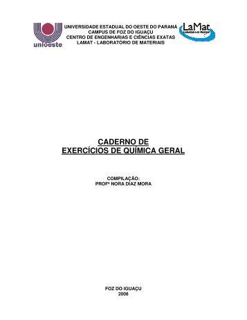 CADERNO DE EXERCÍCIOS DE QUÍMICA GERAL - Unioeste