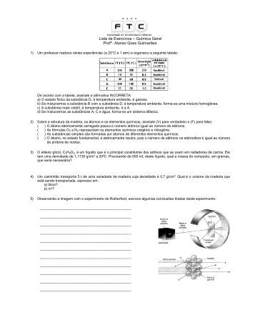 Lista de Exercícios – Química Geral - Professor Alonso Goes ...