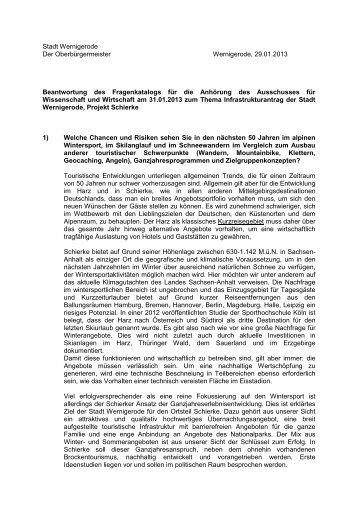 Stadt Wernigerode Der Oberbürgermeister Wernigerode, 29.01 ...