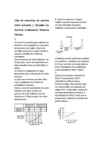 Lista de exercícios de química sobre soluções – Discente em ... - CDF