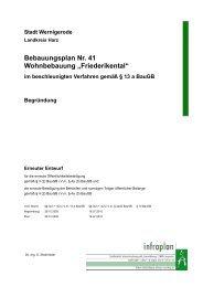 "Bebauungsplan Nr. 41 Wohnbebauung ""Friederikental"" - Wernigerode"
