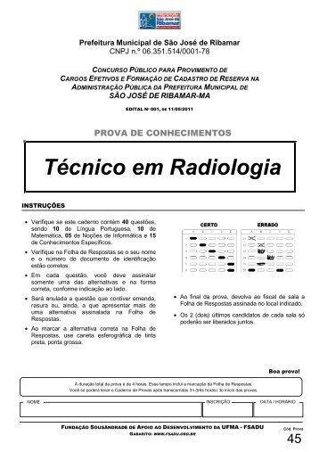Técnico em Radiologia - Fundação Sousândrade