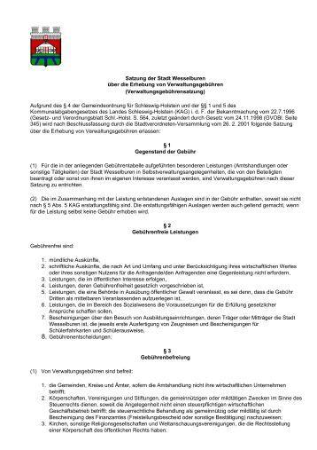 Satzung der Stadt Wesselburen über die Erhebung von ...