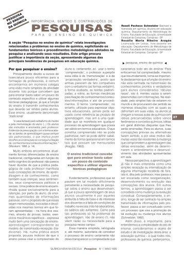 Importância, sentido e contribuições de pesquisas para o ensino de ...