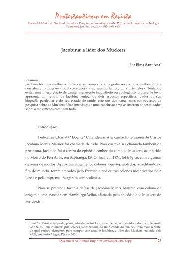 Jacobina: a líder dos Muckers - Faculdades EST