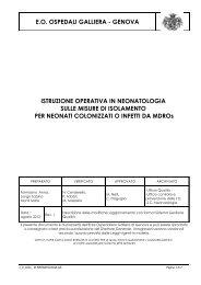 I.O. misure d'isolamento neonati con MDROs - Ospedale Galliera