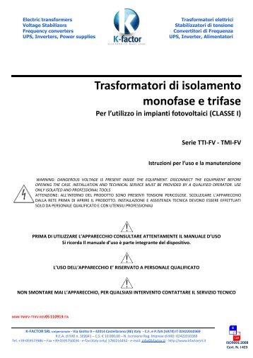 Trasformatori di isolamento monofase e trifase - k-factor