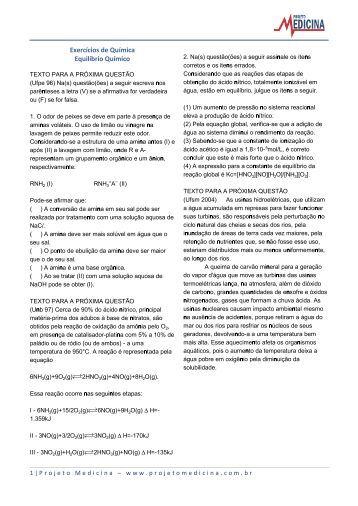 Exercícios de Química Equilíbrio Químico - Projeto Medicina