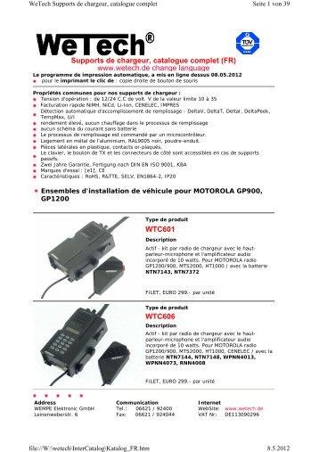 Supports de chargeur, catalogue complet (FR) www.wetech.de ...