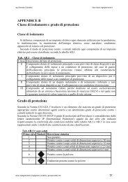 APPENDICE B Classe di isolamento e grado di protezione Grado di ...