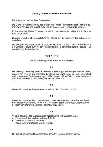 Satzung für den Wettringer Badeweiher - Wettringen