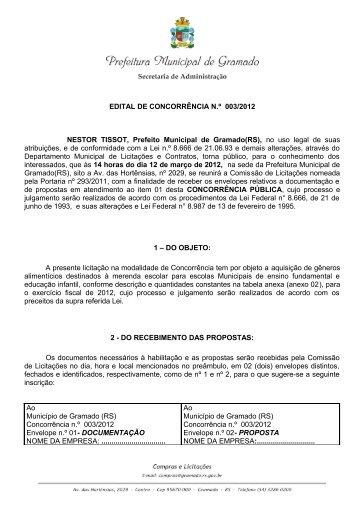 edital de concorrência 003/2012 - Prefeitura de Gramado