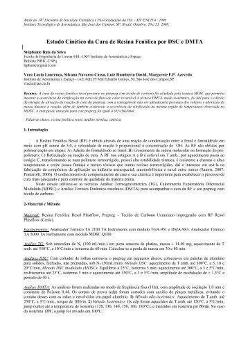 Estudo Cinético da Cura de Resina Fenólica por DSC e DMTA