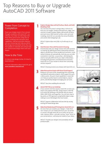 Top Reasons to Buy or Upgrade AutoCAD 2011 Software