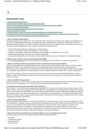 Autodesk Design Review 2008 Fragen und Antworten
