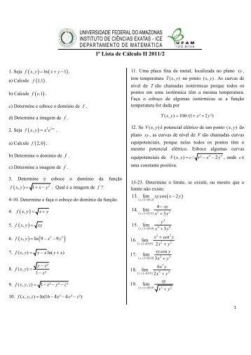 1a Lista de Cálculo II