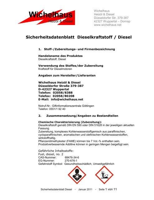 Sicherheitsdatenblatt Dieselkraftstoff Diesel Wichelhausnet