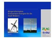 Bürgerinformation Erneuerbare Energien für die Stadt Widdern