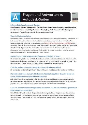 Autodesk-Suiten - fragen und Antworten - Widemann Systeme GmbH