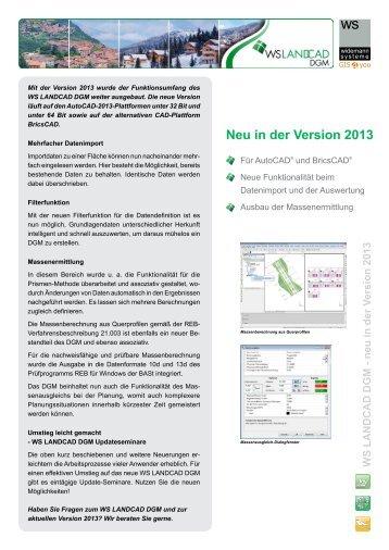 Neu im WS LANDCAD DGM 2013 - Widemann Systeme GmbH