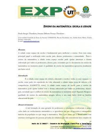 ENSINO DA MATEMÁTICA : ESCOLA E CIDADE - UTFPR