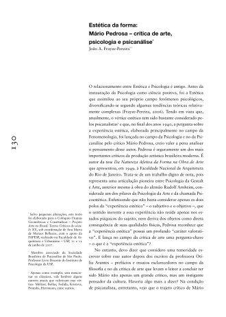 Estética da forma: Mário Pedrosa – crítica de arte, psicologia e ...